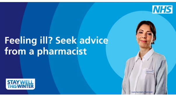 Feeling ill, seek advice from a pharmacist