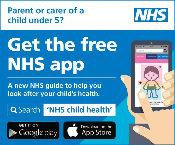 Parent or carer of a child under 5? Get the free NHS app, a new guide to help you look after your child's health. Search NHS child health on Google Play or the App Store.